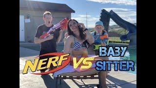 Babysitter Showdown! Sneak Attack Pranks Nerf Battle Vs Babysitter!