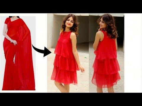 15 Minutes Diy Designer High Low Kurtireuse Old Sareeparty Wear