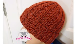 BASIC KNIT HAT FOR THE WHOLE FAMILY, ONE SIZE, EASY KNIT RIBBED CAP/HAT FOR MEN, WOMEN AND CHILDREN