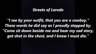 Streets of Laredo Cowboy's Lament LYRICS WORDS BEST TOP POPULAR FAVORITE TRENDING SING ALONG SONGS