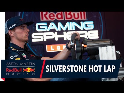 Max Verstappen goes for a virtual hot lap ahead of the British GP