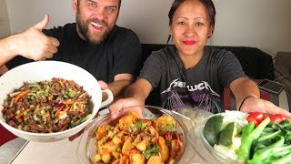 MUKBANG ALOO KO ACHAR/NEPALESE POTATO SALAD+ SPICY DRY BEEF WITH LENTIL SALAD+SHOUT OUT