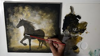 How To Acrylic Painting On Canvas, Step By Step, Black Horse In Fog With Gold, Painting Techniques