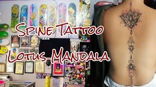 Spine Tattoo/ Lotus Mandala/ Tattoo Timelapse