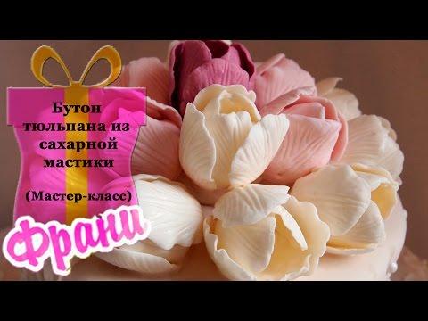 Цветы из мастики. Бутон тюльпана из сахарной мастики (мастер-класс).