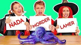 """DESAFÍO DE COMIDA DE MORDER, LAMER O NADA! Prueba de sabor de Halloween """"Dulce o truco"""""""