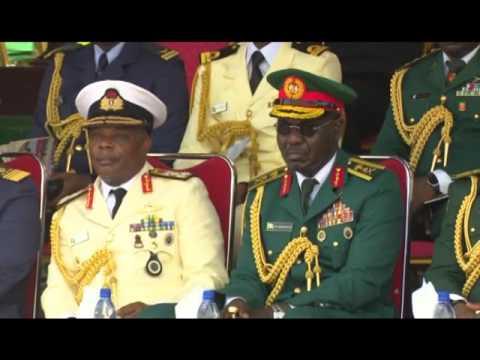 President Buhari  at PASSING OUT PARADE of 63 Regular Course of  NDA