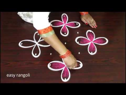 Creative & Beautiful color muggulu designs with 7 dots || easy rangoli kolam designs