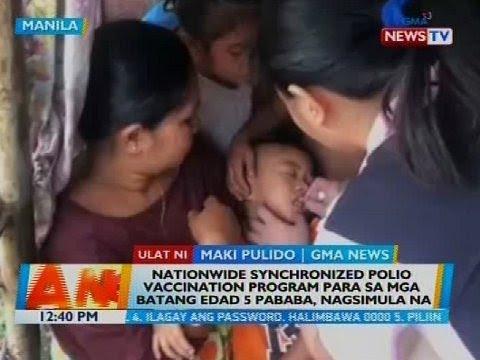 BT: Nationwide synchronized polio vaccination program para sa mga batang edad 5 pababa, nagsimula na