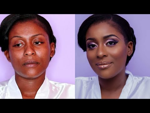 CLIENT BRIDAL MAKEUP | BRIDAL MAKEUP FOR AFRICAN WOMEN | PURPLE BRIDAL MAKEUP TUTORIAL
