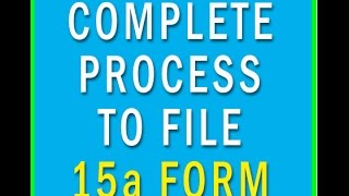 Form 15ca [15ca and 15cb]  How to file 15ca Form