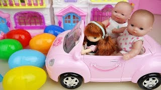 Baby doll Pink house and car surprise eggs toys baby Doli play