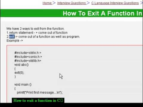 How to exit a function in C