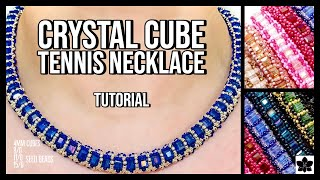 ✨CRYSTAL CUBE TENNIS NECKLACE ✨Beaded Jewelry Making Tutorial | Pattern | Seed Beads | BEEBEECRAFT