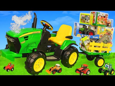 Tractor Toys: Ride on Toy Vehicles, Cars, Trains & Farm Animals Play | Surprise for Kids