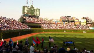 NATO flags at Wrigley Cubs-Sox game.MOV