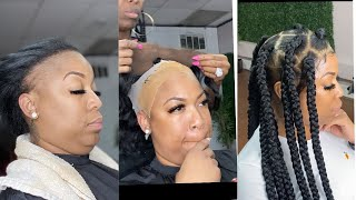 BOHEMIAN BOX BRAIDS ON A FRONTAL TUTORIAL ( BERNICE BURGOS & NIQUE INSPIRED ) CAN YOU FIND THE LACE?
