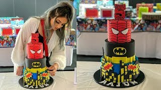Superhero Birthday Cake - Batman/Spiderman | Mundheep Makes