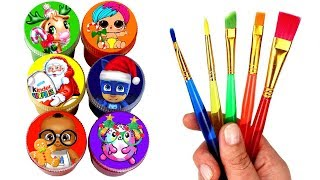 Christmas Painting & Surprise Toys for Kids LOL Surprise PJ Masks Pikmi Pops Kinder Eggs Hatchimals