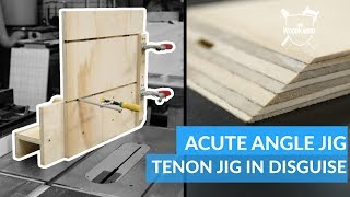 Cutting Acute Angles At The Table Saw (Tenoning Jig) #woodworking
