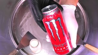 Monster Energy Drink - Ice Cream Rolls | Ultra Red fried Monster Ice Cream | Satisfying ASMR Food
