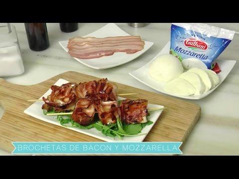 Brochetas de bacon y mozzarella. Galbani