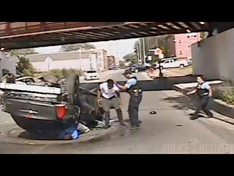 Car Fleeing From Traffic Stop Crashes And flips Over in Chicago, Illinois