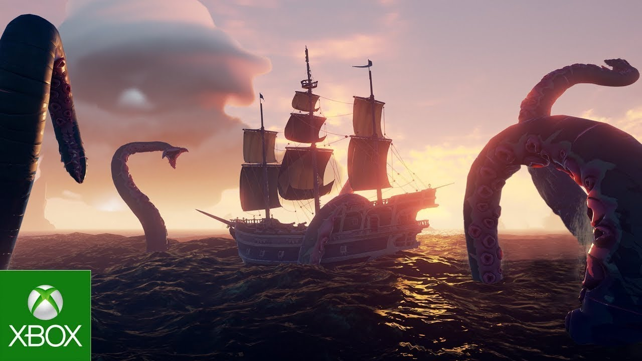 Picture of a Pirate Ship with a Kraken in the water