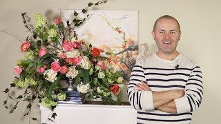 Beautiful Silk Flower Arrangement  (silk Floral Bouquet DIY )