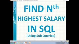 SQL Interview Questions | Nth Highest Salary Using sub queries in SQL