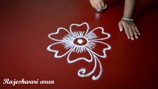 latest and innovative rangoli designs without dots - friday kolam - small muggulu by Rajeshwari Arun