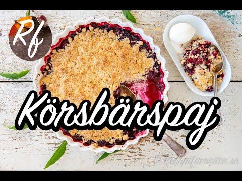 Körsbärspaj med smuldeg och färska eller frysta körsbär. En god variant på smulpaj som passar med vaniljvisp eller hemgjord vaniljsås, vaniljglass eller vispad grädde.>