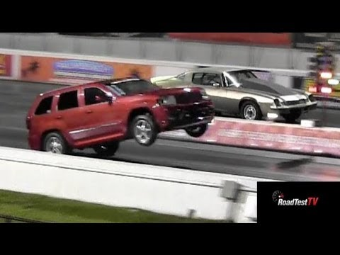 SRT8 Jeep vs Big Block Camaro  – Wheelstand Drag Race Video