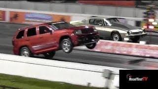 Fastest NA SRT 8 Jeep Cherokee vs Big Block Camaro  - Wheelstand - Drag Race Video -- Road Test TV®   Kholo.pk