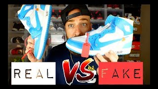 REAL vs FAKE! Off White Jordan 1 UNC Review & On Feet!