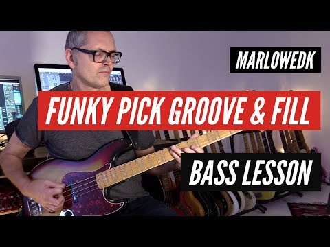 Funky pick bass groove with triplet fill - Marlowedk bass lesson