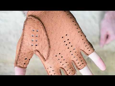 Fingerlose Autohandschuhe Sporthandschuhe Lederhandschuhe aus Peccary Leder Handgefertigt