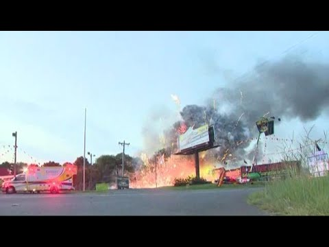Crews battle huge fire near Fort Mill fireworks store