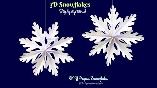 3D Snowflake - Paper snowflake - How to Make 3D Paper Snowflakes for Christmas decorations Part - 3
