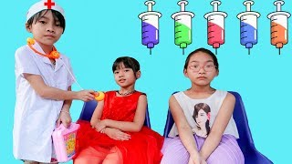 Indoor playground for kids pretend play with LaLa Kids TV doctor - Funny Video for children