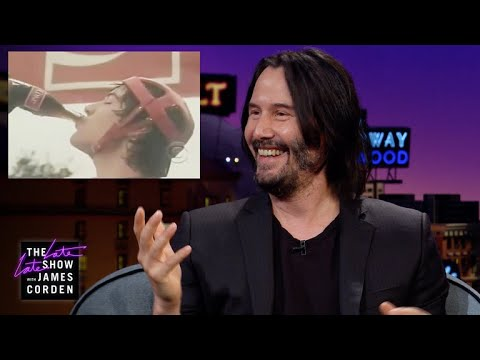 Keanu Reeves Watches His 1980s Coca-Cola Commercial on James Corden