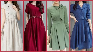Slim Fit Knee Length Plain Solid Color Skater Dresses Ideas For Girls.