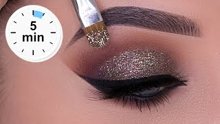 5 MINUTE New Years Eve Glitter Smokey Eyes Tutorial