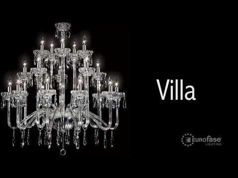 Video for Villa Chrome Six-Light 22-Inch Wide Chandelier with Clear Crystal