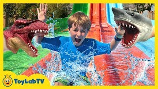 Jurassic Park Dinosaur Toys & Water Fun! Kids Outdoor Activities with Surprise Toy Dinosaurs