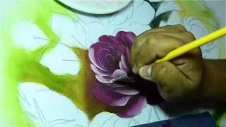 Pintura em tecido: Rosa Colombiana
