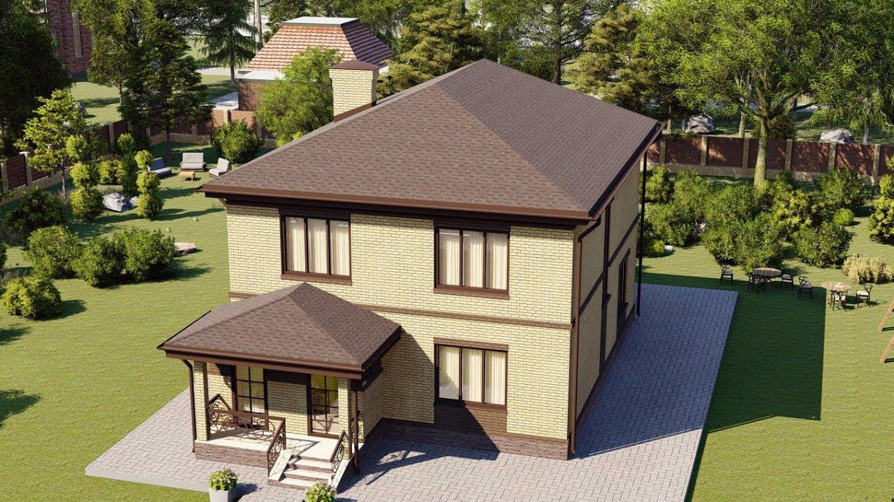 Проект коттеджа двухэтажного дома из газоблока 161 м2