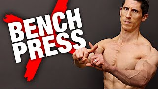 So you can't build a big chest no matter how often or how much you bench press? In this video, I'm going to show you the biomechanical and scientific reason why this is the case for you and, more importantly, give you an exercise for your chest that will make it grow better than everything else you've tried.  The key to a bigger chest is making sure that you are activating the pecs and not your shoulders and triceps during your pressing. Some of the limitations of the bench press are known to be inhibiting the very activation that you are seeking. These are worsened by the fact that some people just aren't genetically as predisposed to flourish with the bench press.  Let's start by discussing the biomechanical limitations of this popular chest exercise. First, the range of motion. We know that horizontal adduction of the arm across the chest (at the shoulder joint) is one of the primary functions of the pec major / chest muscles. During the bench press, your arm only goes through about a total of 80 to 90 degrees of adduction. This comes from a negative fifteen degrees at the bottom of the bench press up to about 70 degrees or so at the top of the rep.  When people have a hard time building their chest they simply don't get enough activation of the pecs to stimulate growth. This is worsened by the fact that they often substitute pec contraction for deltoid and triceps activation to move the bar.   The second thing to note is that the strength curve of the bench press is descending, meaning that as the bar moves away from the chest the exercise gets easier and tension is lost on the pecs. So when the shoulder is in its most adducted position, the corresponding tension on the pecs is at its lowest. This again does not bode well for the exercise in its capacity to add lots of mass to the chest.  Biologically speaking, certain individuals have lower proportions of fast twitch fibers in their chest, which only further decreases the responsiveness of the exercise to a hea