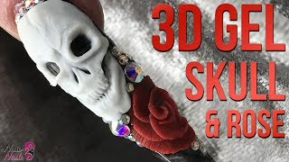 3D Gel Skull & Rose - Halloween Nail Design - 3D Sculpting Gel