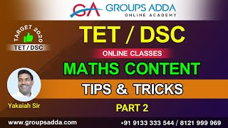 DSC / TET Maths Content Tips & Trics Part 2 ll AP & Telangana DSC Online Classes || DSC